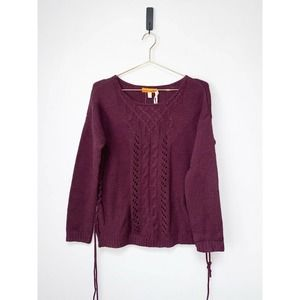 One A Purple Cable Knit Pullover Sweater M NEW